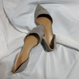 Merona stripped gray and white flats